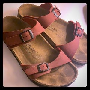 Red Betula by Birkenstock sandals.